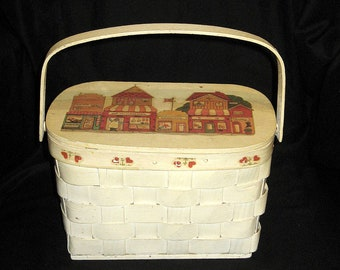 Vintage Basket Purse 50s Bamboo Split Wood  Painted Top Handle Hinged Lid Basket Bag