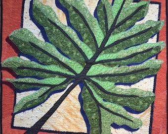 Large Green Leaf Art quilt/ Small Wall-hanging