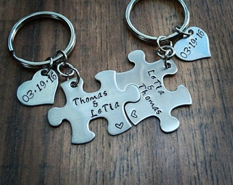 Hand Stamped Personalized Keychain - Couples Puzzle Piece Keychains - Anniversary Gift - Boyfriend Gift - Girlfriend Gift