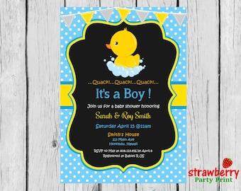 Rubber Duck Baby Shower Invitation, Chalkboard Yellow Ducky Baby Shower  Invitation, Baby Girl Boy Gender Neutral Baby Shower Invitations