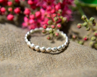 Pretty Bubble Stacking Ring Solid Sterling Silver