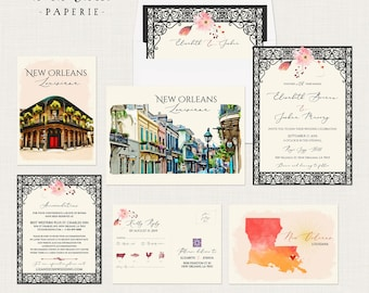 New Orleans Louisiana USA French Quarter Jazz illustrated watercolor destination wedding invitation - Deposit Payment