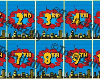 Superhero Birthday Banner Number Add-On, Comic Book Party, Superhero Party, City Scape, Printable Instant download.