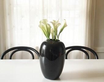 Lovely Black Ceramic 80's Vase