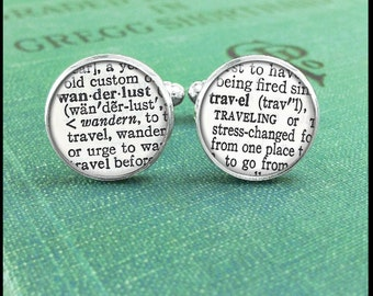 Wanderlust Cufflinks, World Traveler Cufflinks, Dictionary Cufflinks, Book Lover Cufflinks, Wanderlust Accessories, Gift for Traveler