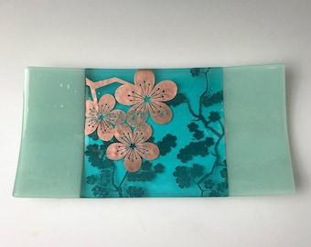 Sakura Fused Glass Serving Platter, Japanese Cherry Blossom Flower, Nature Platter