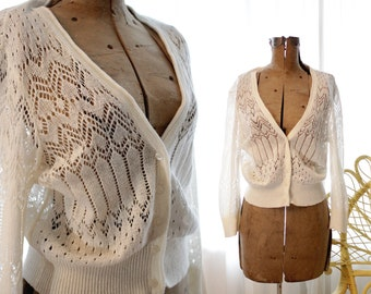 Vintage classic white cotton blend crochet lace knit cropped cardigan sweater