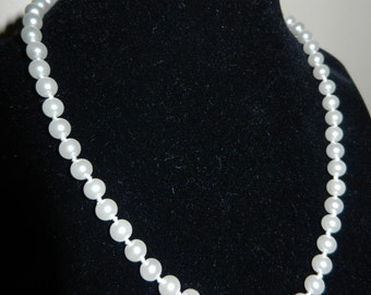 """Two White Pearl Necklaces - 17"""" long and 15"""" long"""