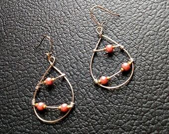 Gold and Pink Pearl Hoop Earrings