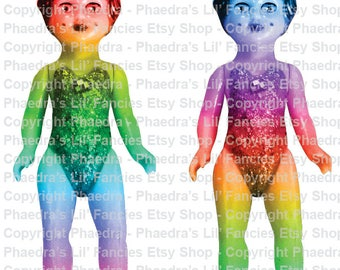 Phaedra's Rainbow Vintage Dollies 1 - Digital A4 page Instant Download Junk Journal Collage Ephemera Mixed Media JPEG