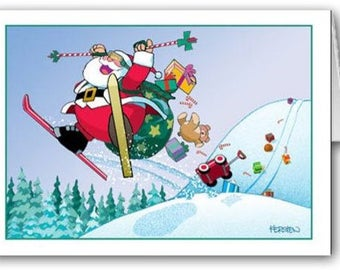 Skiing Santa Christmas Card - 18 Cards & Envelopes - Ski - KX30