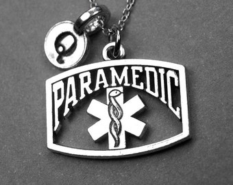 Paramedic Necklace, Paramedic charm necklace, paramedic symbol charm, medical necklace, hand stamped initial, personalized, monogram, letter