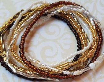 Seed bead bracelet, beaded bracelet, stretch bracelet, stacking bracelet, brown bracelet, bracelet set of 8, stretch bracelet set, boho set
