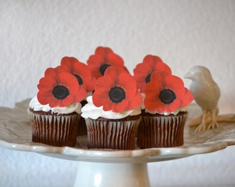 Edible Poppy Flowers Cake & Cupcake toppers - Food Decoration