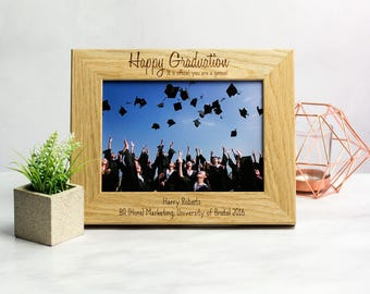Graduation Photo Frame - Personalized Graduation Frame - Graduation Gift - Oak Picture Frame - Photo Frame - Gift For Him Her - LC191