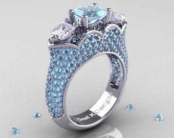 Classic 14K White Gold Three Stone Princess Aquamarine White Sapphire Azure Solitaire Ring R783P-14KWGWSAQ