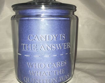 Personalized Candy Jar with lid! Add your logo! Add your custom text! These are great for any office or home! Cute Custom Cookie Jar!