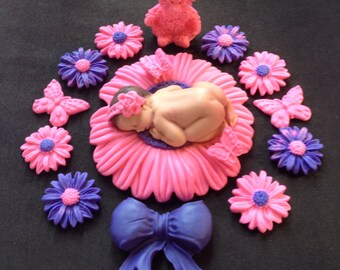 Fondant baby pink purple daisy flower cake topper for Baby Shower, Birthday, Party Favor
