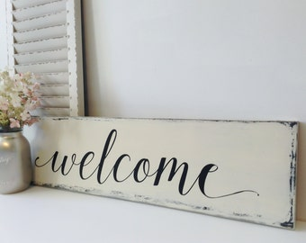Wooden Welcome Sign, Farmhouse Style, Wood Welcome Sign, Welcome Sign, Wood Rustic Finish, Farmhouse Decor, Wooden Sign
