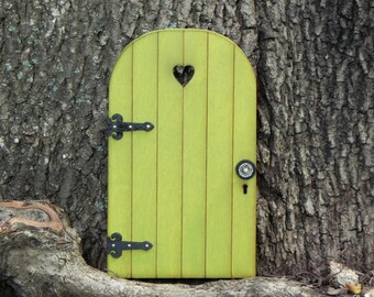 Fairy Door fairy garden accessories miniature wood citrus green with black hinges choice of two styles