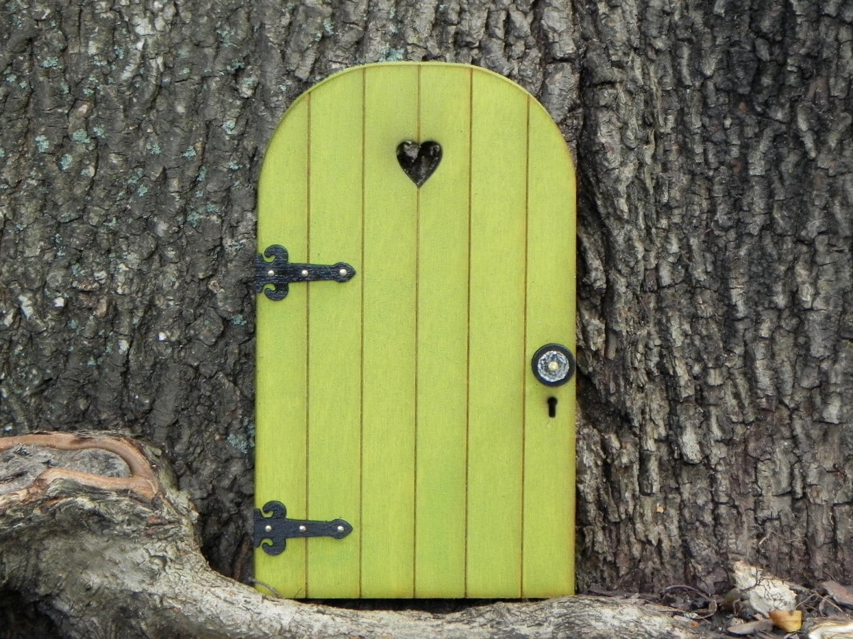 Fairy door fairy garden accessories miniature wood citrus for Outdoor fairy door