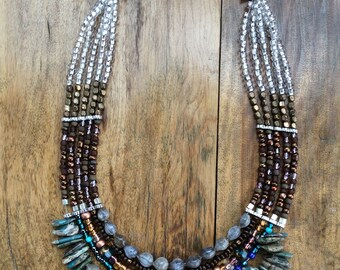Jobs Tears 5 Strand Necklace, Beaded Necklace, Handmade Necklace, Boho Necklace