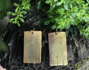 Forest Night Engraved Brass Earrings
