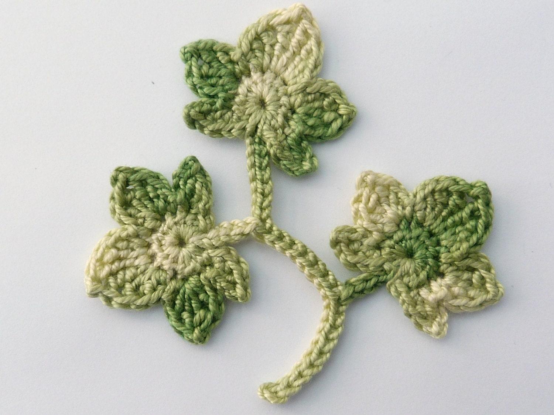 Crochet, Crochet applique, 3 sage green crochet ivy leaves ...
