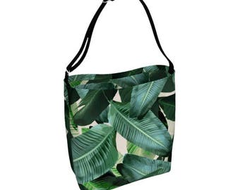 Banana leaf Neoprene tote bag, beach bag, jungle print, generous beach bag stretchy, large tote, tropical palm leaf, Xmas gift idea