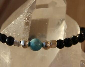 Silver bead and hemimorphite Obsidian bracelet