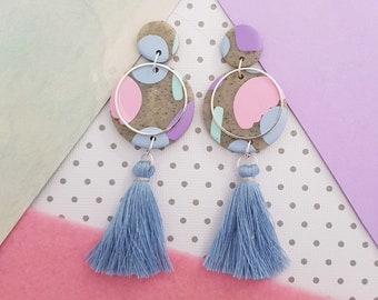 Tassel Dangles ~ Polymer Clay Earrings ~  Statement Earrings ~ Ladies Earrings