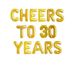 30th Birthday Party Balloons 30th Birthday Decorations Thirty Years Birthday Decor 30th Birthday Balloon Letters 30th Party Cheers to Thirty