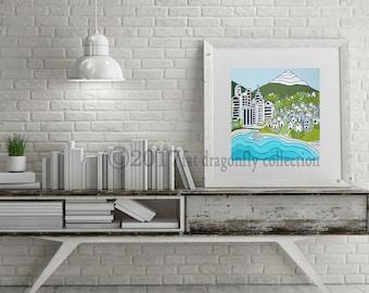 Coastal Village art print. Urban art poster. Coastal village wall art. Village art print. Urban art print. Urban Village print. Shanni Welsh