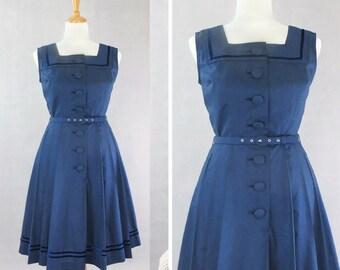 XS / Vintage Cotton 1950's 50's dress / Authentic vintage reproduction / Navy blue & velvet trim 50s dress