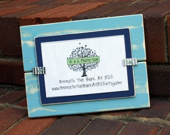 Picture Frame - Distressed Wood - Holds a 4x6 Photo - Light Blue & Navy Blue