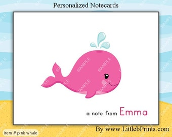 Pink Whale Note Cards Set of 10 personalized flat or folded cards