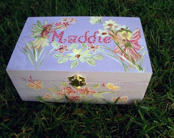 fairy, keep sake box,personalized,customized, lavender,fairies,flowers,butterflies.children's,kid's,girls memory boxes, baby's keepsake box