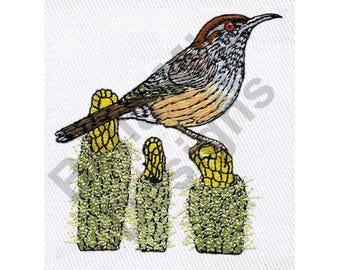Bird - Machine Embroidery Design, Arizona Cactus Wren