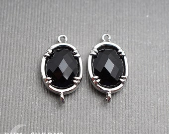 F0061 - Framed Stone, Glossy Original Rhodium Plated, Oval Framed Black Stone Connector Pendant , 2 Pieces
