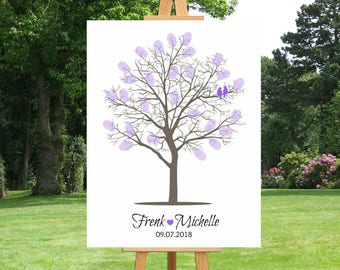 Thumb Print Wedding Tree Guest Book | Fingerprint Wedding Tree | Guest Book Alternative | Canvas Art | Personalized Guestbook - 41677B