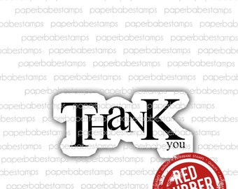 Thank you - Paperbabe Stamps - Red Rubber Mounted Stamps - Christmas Thanks Typography for paper crafting and scrapbooking.