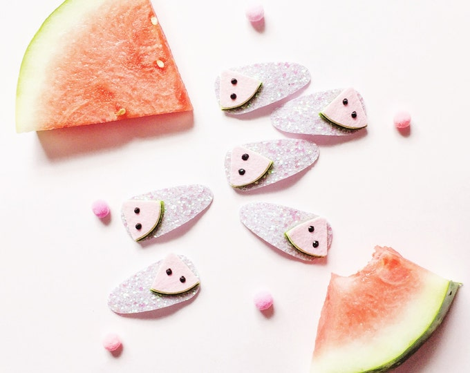 Watermelon Hair Clip Set Glitter Summer Fruit Giddyupandgrow