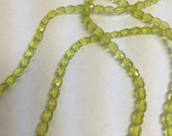 Beads, Glass Beads, Green Beads, Green Glass Beads, Oval Beads, Green Oval Beads, Green Faceted Oval Beads, Glass Oval Beads