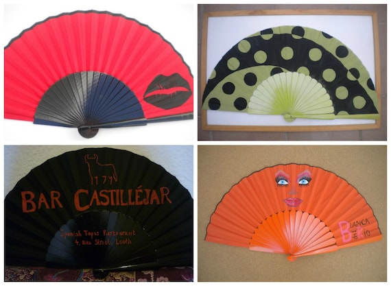 Supersize Pericon WANT a CUSTOM MADE Customized Personalized Wooden Folding Spanish Hand Fan Hand Painted by Kate Dengra