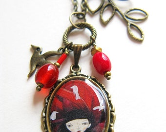 illustration necklace - pendant with charms, Birds in Girl's Hair, Alice in Wonderland, Redhead,