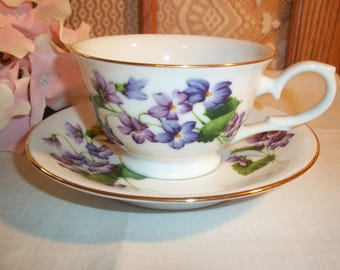 Avon Birthday Tea Cup Set February Purple Violets Blossoms of the Month Series Vintage 1991 Collectible Porcelain Set Birthday Gifting