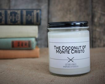 The Coconut of Monte Cristo - Book Inspired Scented Soy Candles -  8oz glass jar
