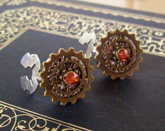 Gear Cuff Links (CL600) - Steampunk Style - Button Covers Snap-On - Swarovski Crystal - Brass Layered Gears