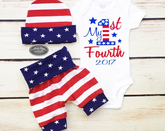 Baby Boy Coming Home Outfit, My 1st Fourth, Red White And Blue Shorts, Hat and Bodysuit, Fourth Of July Outfit Set, Baby Boy Hospital Set