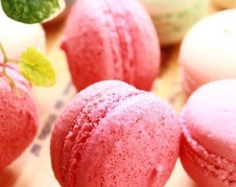12 Strawberry Macarons